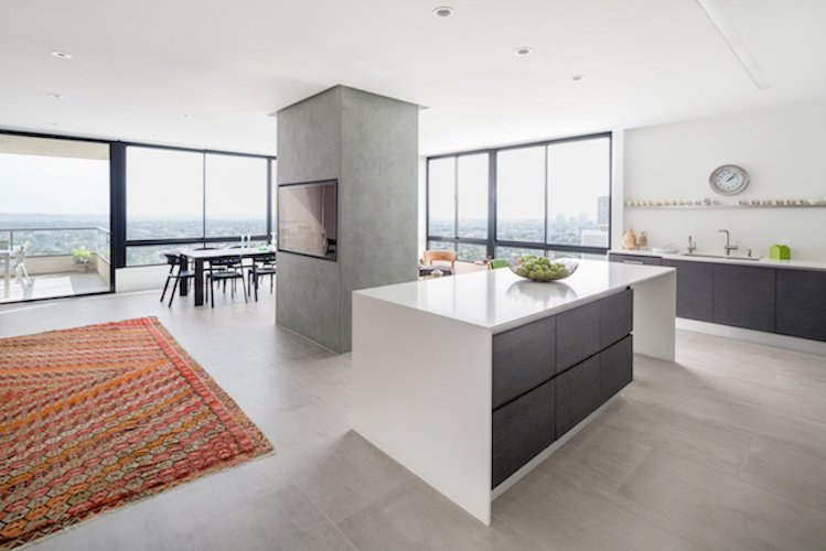 #danbrunn #thediplomat #apartment #wilshirecorridor #california #glass #windows #kitchen #diningroom #livingroom #fireplace #interior  The Diplomat Apartment by DBArchitecture