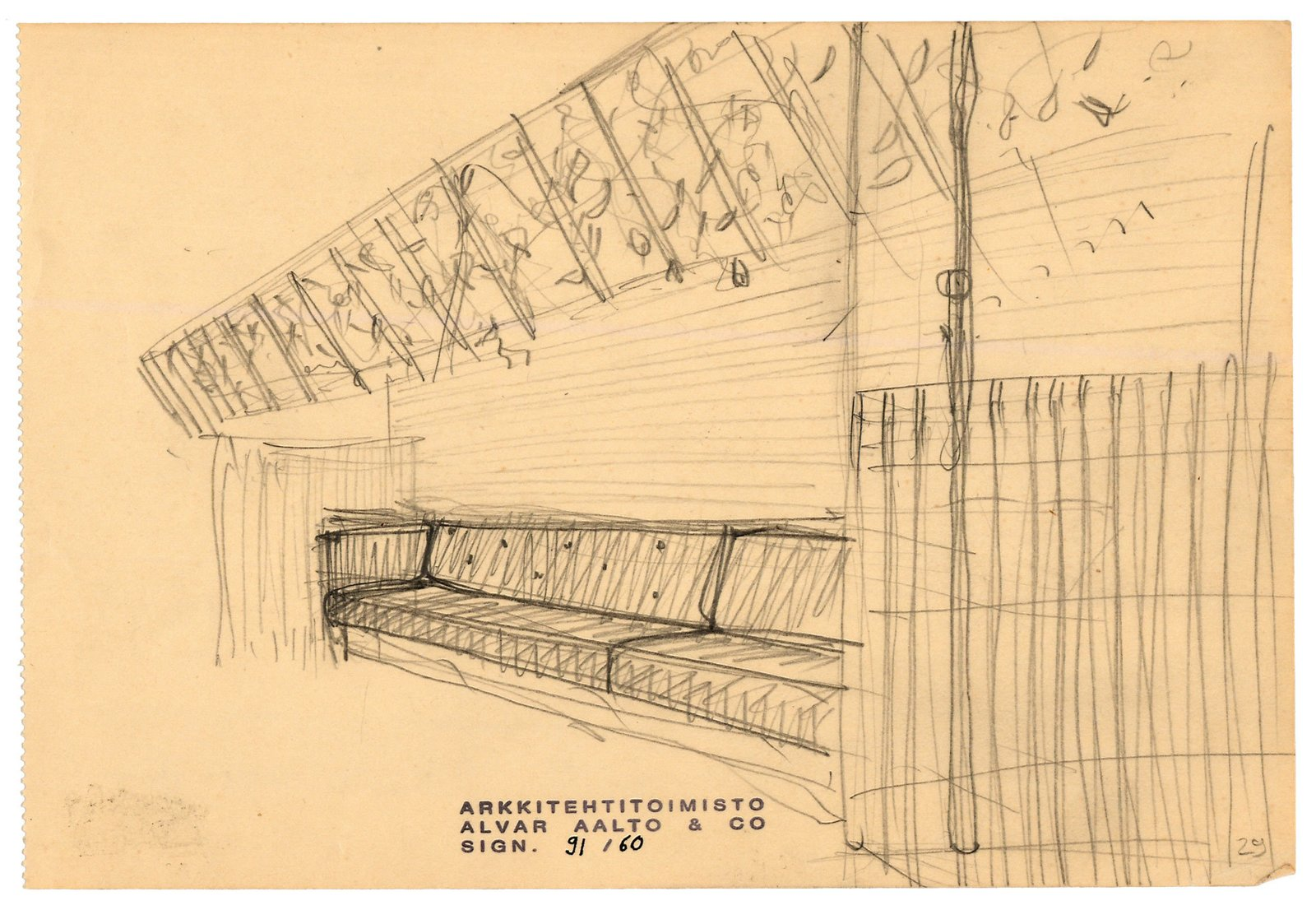 Drawing by Alvar Aalto of his 1937 restaurant in Helsinki, Restaurant Savoy, which he created alongside his wife, Aino Marsio-Aalto. The walls and ceiling are covered in birch veneer; the pair designed all of the furnishings and many of the table pieces.
