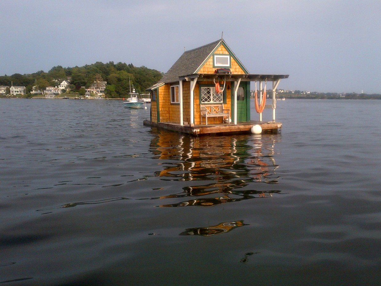 Floating cabin in Gloucester, Massachusetts.
