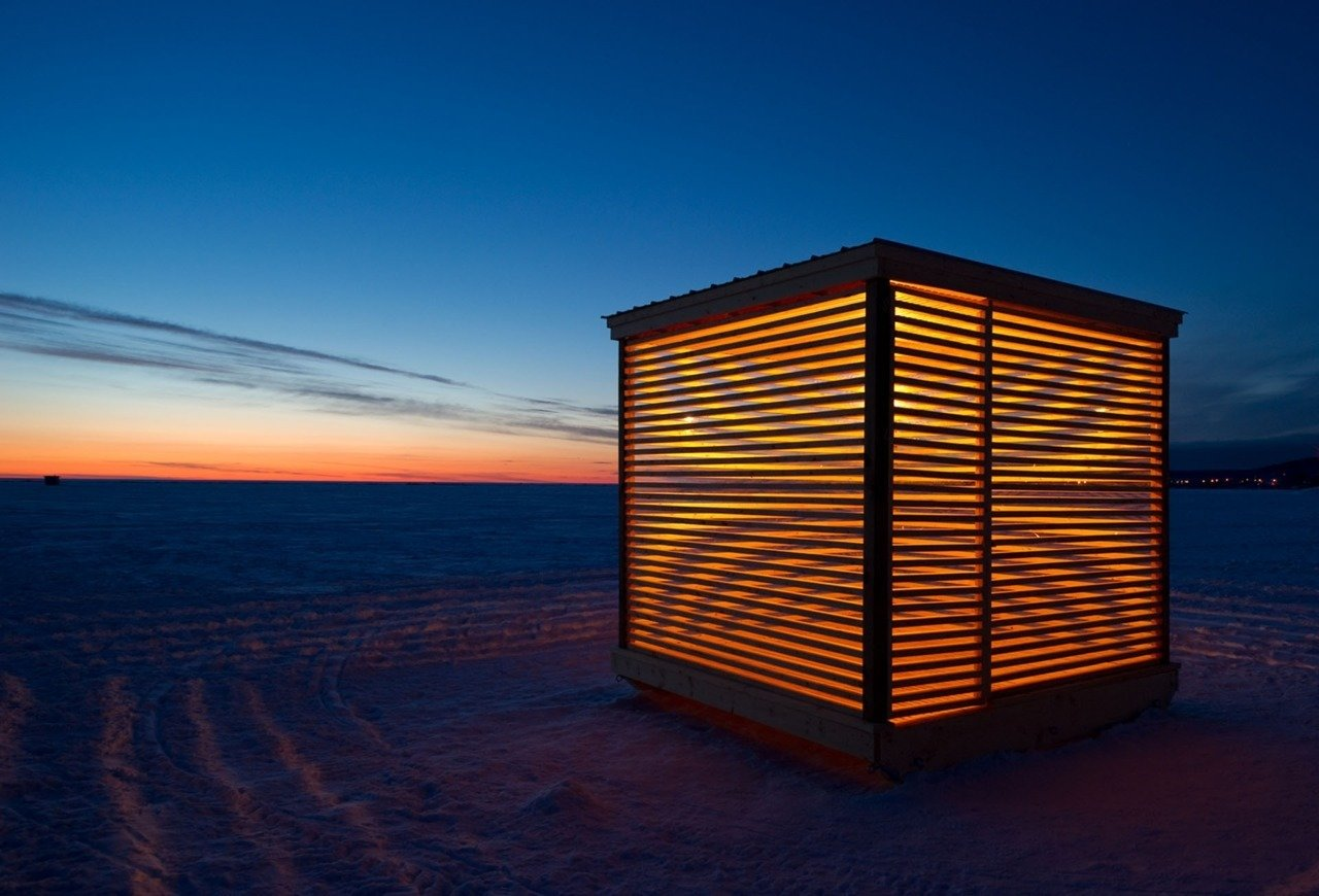 Ice hut installation project in Northern Ontario, Canada.
