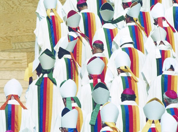 Inside the Wild and Zany World of Jean-Charles de Castelbajac - Photo 2 of 5 - For World Youth Day in Paris, July 2007, Jean-Charles de Castelbajac designed the liturgical vestments for Pope John Paul II and 5500 members of the clergy, with robes featuring a spectrum of rainbow colors.