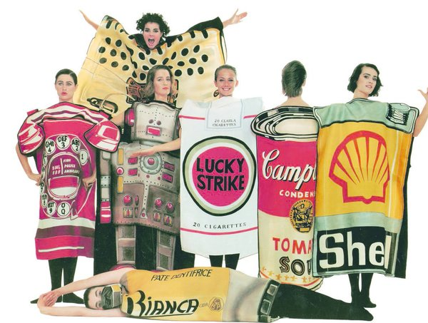 Inside the Wild and Zany World of Jean-Charles de Castelbajac - Photo 1 of 5 - A commentary on consumer culture, Jean-Charles de Castelbajac'sSummer 1984 collection, titled Homage to the 20th century, featured boxy dresses with famous American brands painted onto gazar fabric.