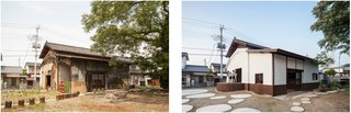 Saved From Demolition, a Japanese Sake Warehouse Sees a Second Life - Photo 1 of 7 - A view of the sake warehouse before conversion (left), and after (right). Badly decayed, much of the structure had been demolished, leaving just the main building intact on a largely vacant lot.