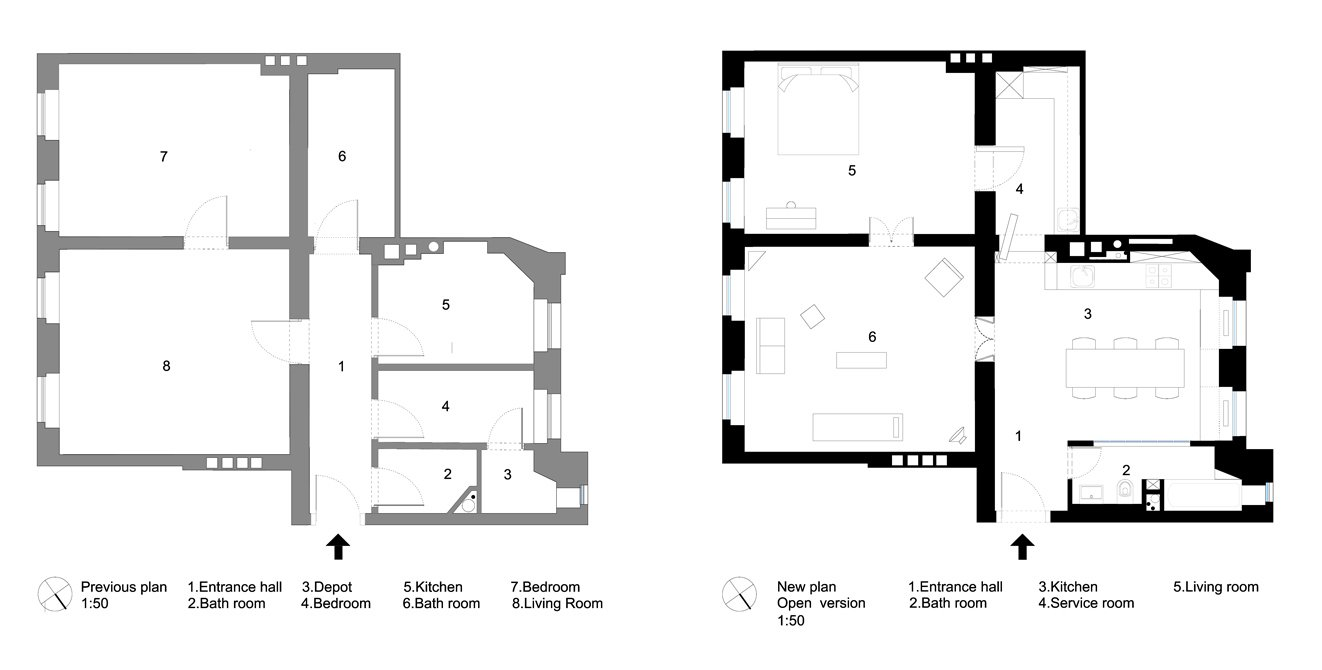 Removing several walls that previously partitioned the northwest-facing corner of the home into small, awkward spaces (left), the architect consolidated the interior into three main spaces, plus a concealed service area that can be privately accessed from the bedroom and dining area (right).