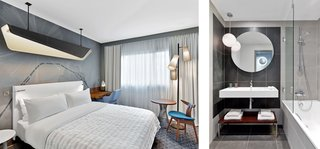 Interior architect Jean-Phillipe Nuel led the redesign of the guest rooms, which are packed with stylish space efficiencies. Long curtains visually enlarge the interior, and a modestly sized wall-mounted desk and chair provide ample space for working on a laptop.