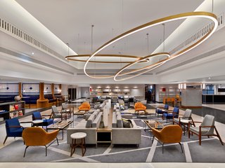 A reinterpretation of the traditional hotel lobby, The Hub is a large open-plan space with modular seating arrangements for casual meetings, or lounging and reading with a coffee. Situated on the ground floor, it socially activates the traditional waiting area.
