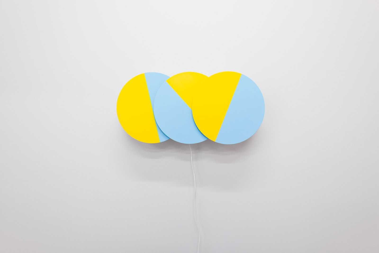 Karel Martens, Three Times (in Blue and Yellow), 2016. Painted aluminum, acrylic, 3D printed components, electronic timers, motors. 40x12x6 inches. Edition of 10. Dutch Graphic Design Master Karel Martens Opens His First Solo U.S. Exhibition - Photo 3 of 5