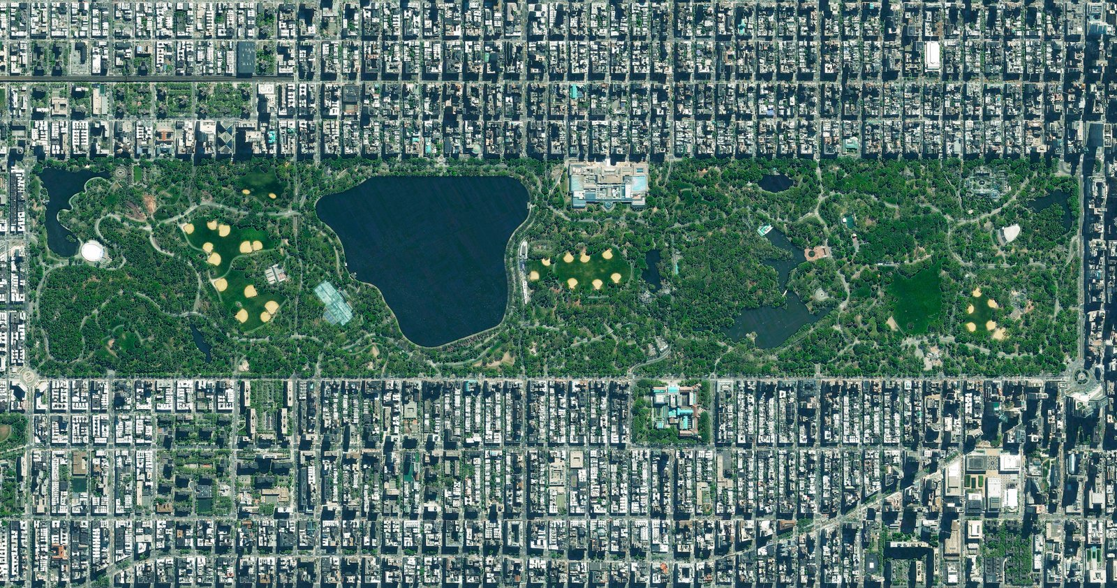 Neatly delineated into as grid of streets, Manhattan's Central Park appears to comprise more than its actual footprint of just 6% of the island borough. Reprinted with permission from Overview by Benjamin Grant, copyright (c) 2016. Published by Amphoto Books, a division of Penguin Random House, Inc.   Images (c) 2016 by DigitalGlobe, Inc.   Ever Wondered About the View from Space? by Aileen Kwun