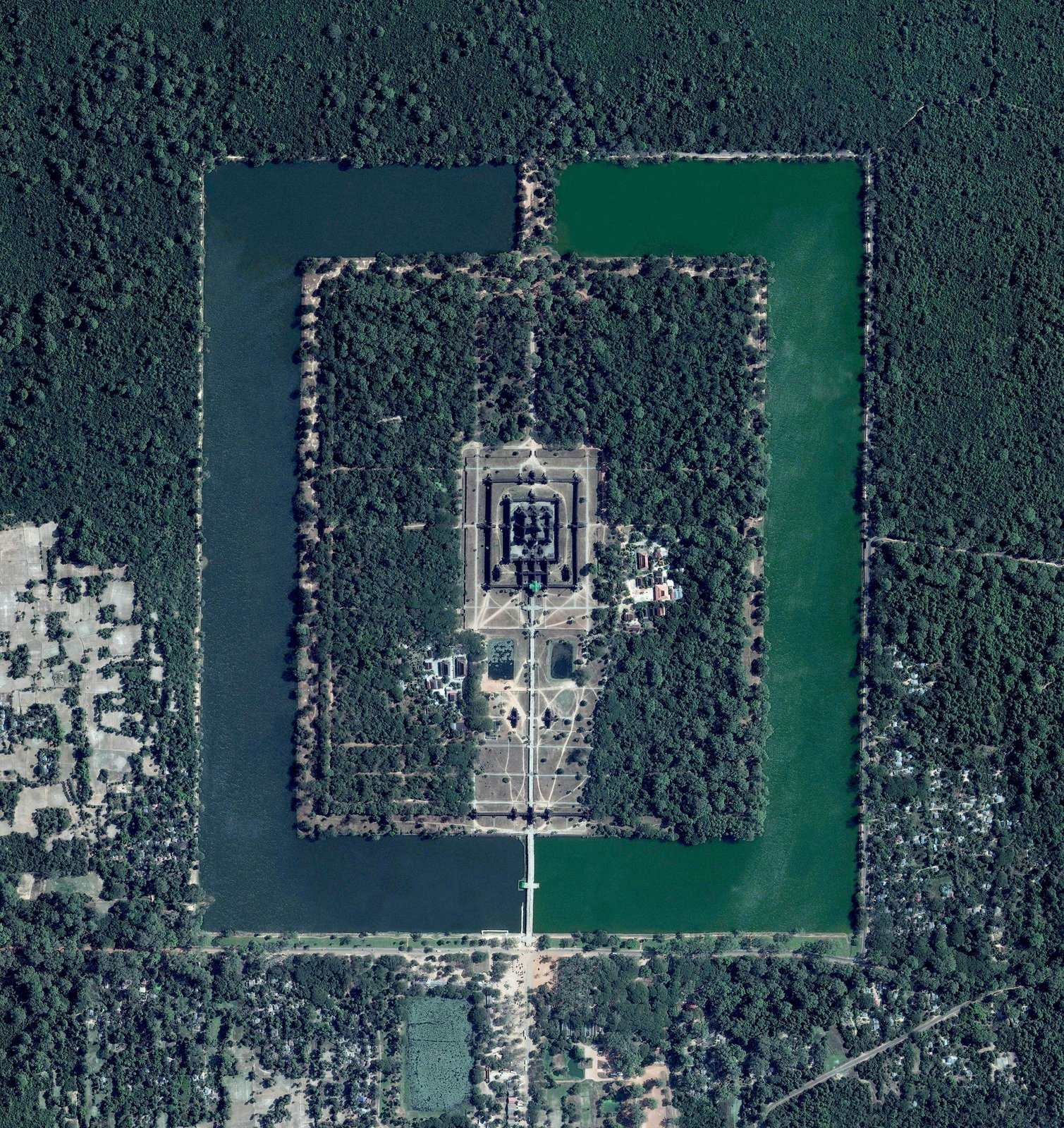 Cambodia's famous landmark, the Angkor Wat temple complex, constructed in the 12th century, is the largest religious monument in the world, surrounded by a moat and a forest. Reprinted with permission from Overview by Benjamin Grant, copyright (c) 2016. Published by Amphoto Books, a division of Penguin Random House, Inc.   Images (c) 2016 by DigitalGlobe, Inc.   Ever Wondered About the View from Space? by Aileen Kwun
