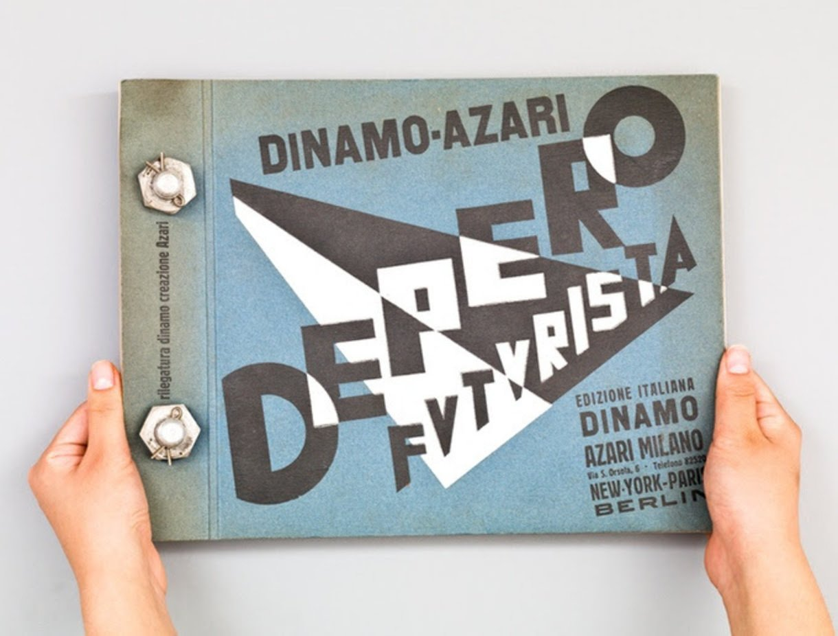 """Designers & Books , MART, and the Center for Italian Modern Art are campaigning on Kickstarter to bring this iconic 1927 tome by Italian Futurist designer and architect Fortunato Depero back into print—including the aluminum bolt binding that earned it the popular nickname, """"The Bolted Book.""""  Read more about it here: https://www.kickstarter.com/projects/1204158310/the-bolted-book-facsimile-an-exact-copy-of-depero  Graphic Design and Illustration by Aileen Kwun"""
