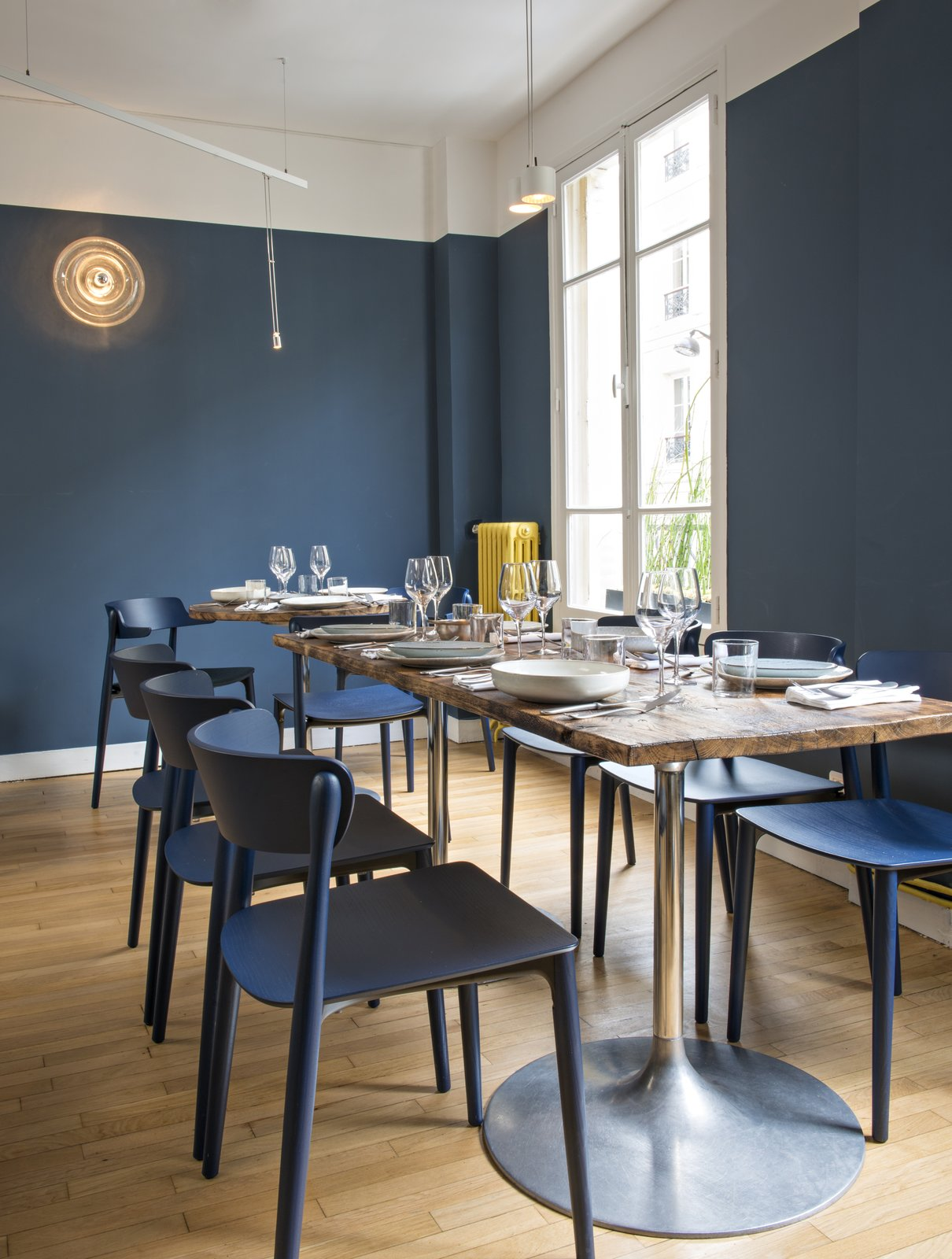 Sixty-five seats are accommodated between Belle Maison's two floors.  Photo 6 of 6 in A Parisian Seafood Restaurant, Swimming in Shades of Blue