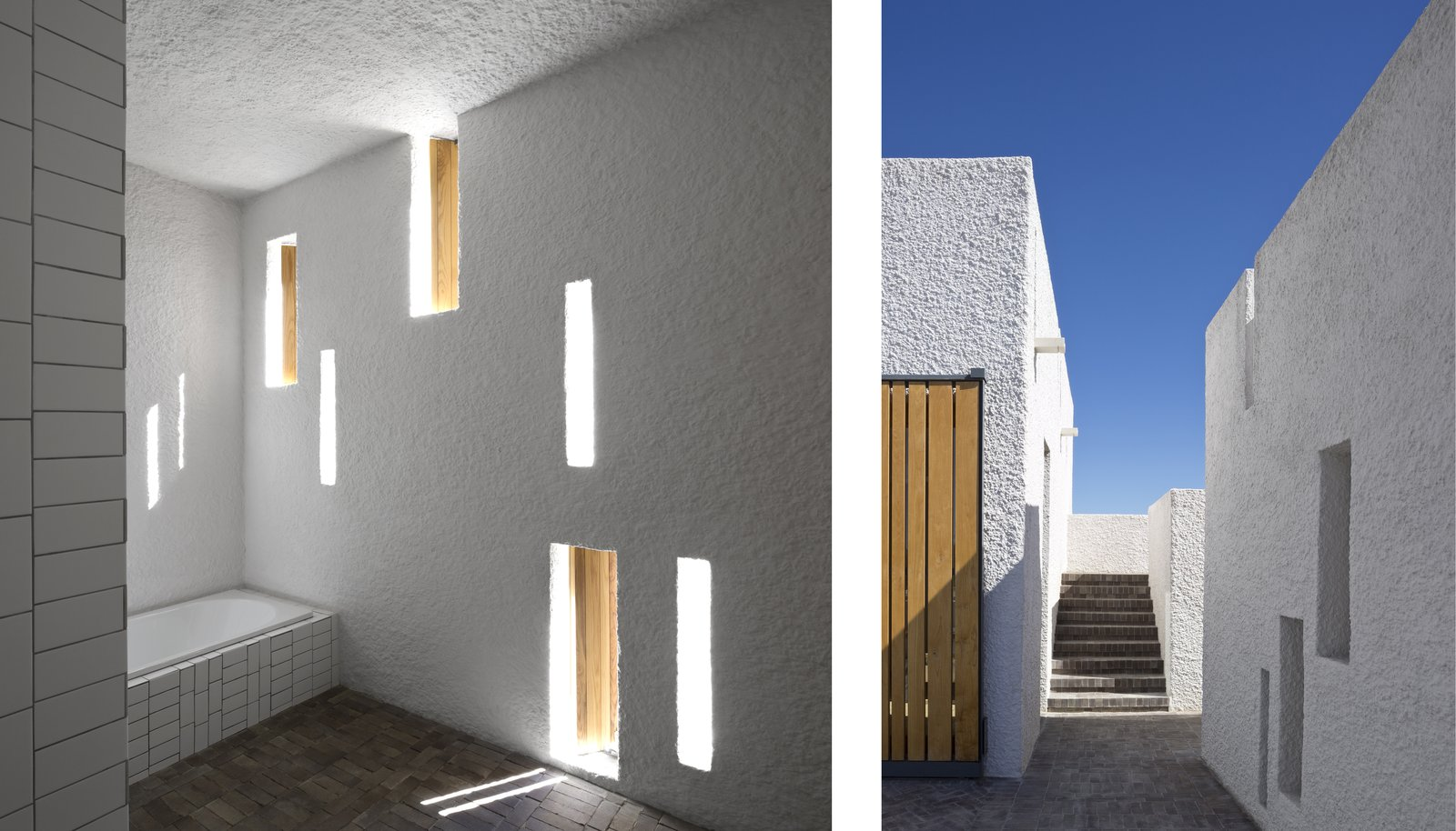 A series of narrow, vertical window openings punctuate the thick-walled facade of the structure, which is optimized for passive solar gains (left). A consistent application of surface materials throughout the interior and courtyard bridge the connection between indoors and out (right).  Photo 5 of 7 in A Minimalist Retreat at the Edge of South Africa's Karoo Desert