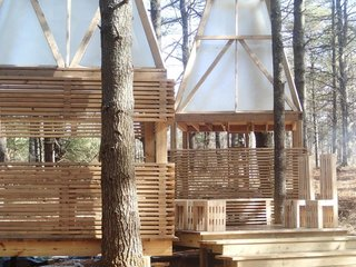 "Shop Class Rebooted: Students Built This Woodland Retreat - Photo 2 of 4 - This year's program focused on building a sleeping structure for ""glamping"" in the Vermont woods."