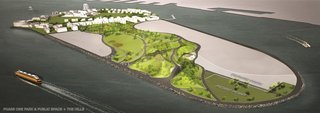 New York's Newest Park Sits on Recycled Demolition Debris - Photo 5 of 5 - A rendering shows the 30 acres of developed areas on the island including the paths and picnic areas of Phase 1 and the 10-acre site of The Hills.