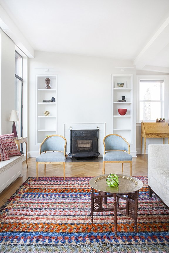 This bright and airy West Village duplex was renovated by Fogarty Finger for a family who moved from just three floors below. The apartment had been previously occupied by the same resident for 50 years. A Moroccan theme now runs through the home.  Photo by Howie Guja Styling by Gorilla Styling  Colorful Intentions by Meg Dwyer from West Village Duplex Renovation