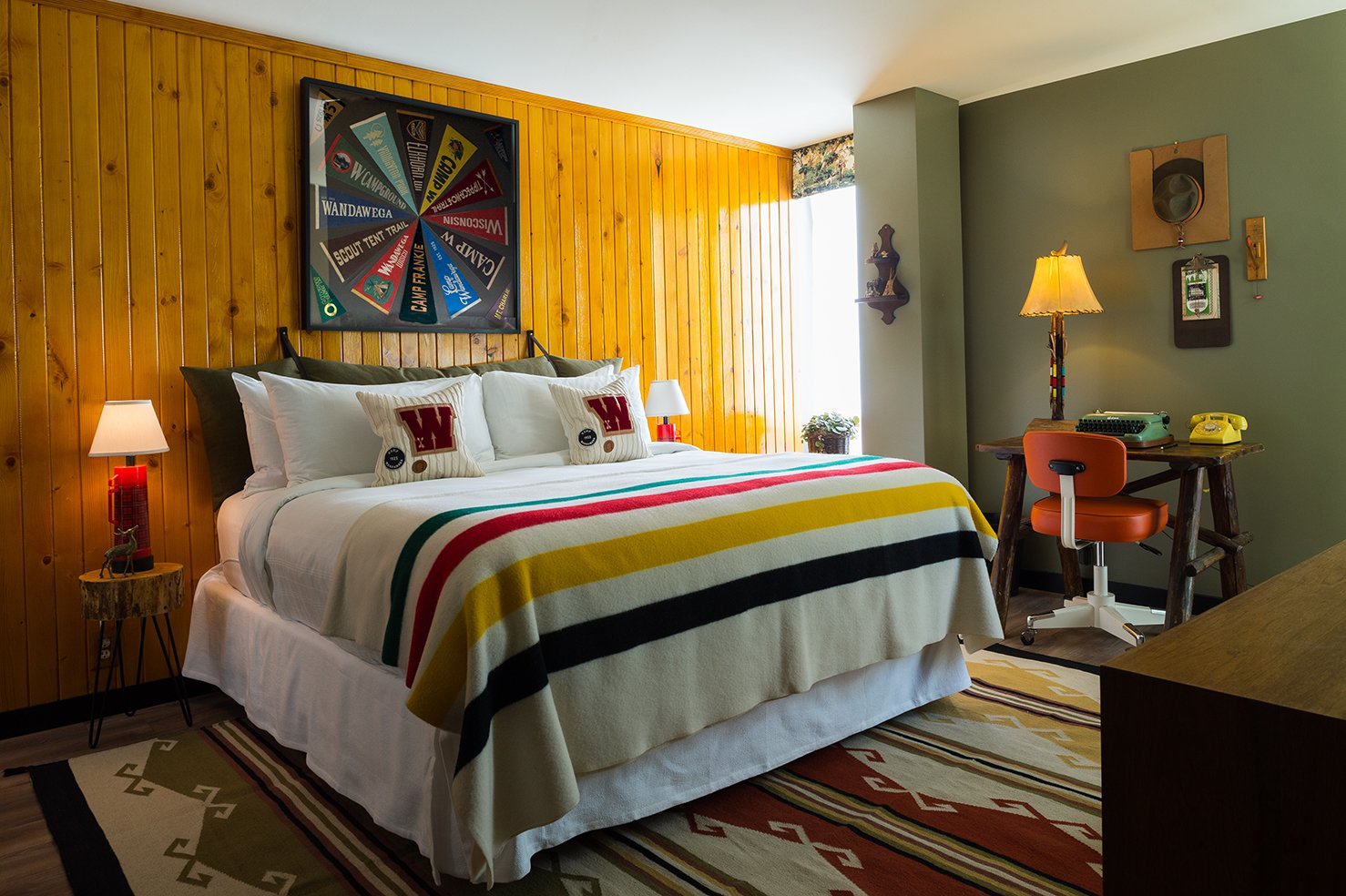 The idea for the custom room comes from Camp Wandawega's line for Land of Nod, which celebrates the whimsical vintage aesthetic of the retreat. A former Prohibition speakeasy once called