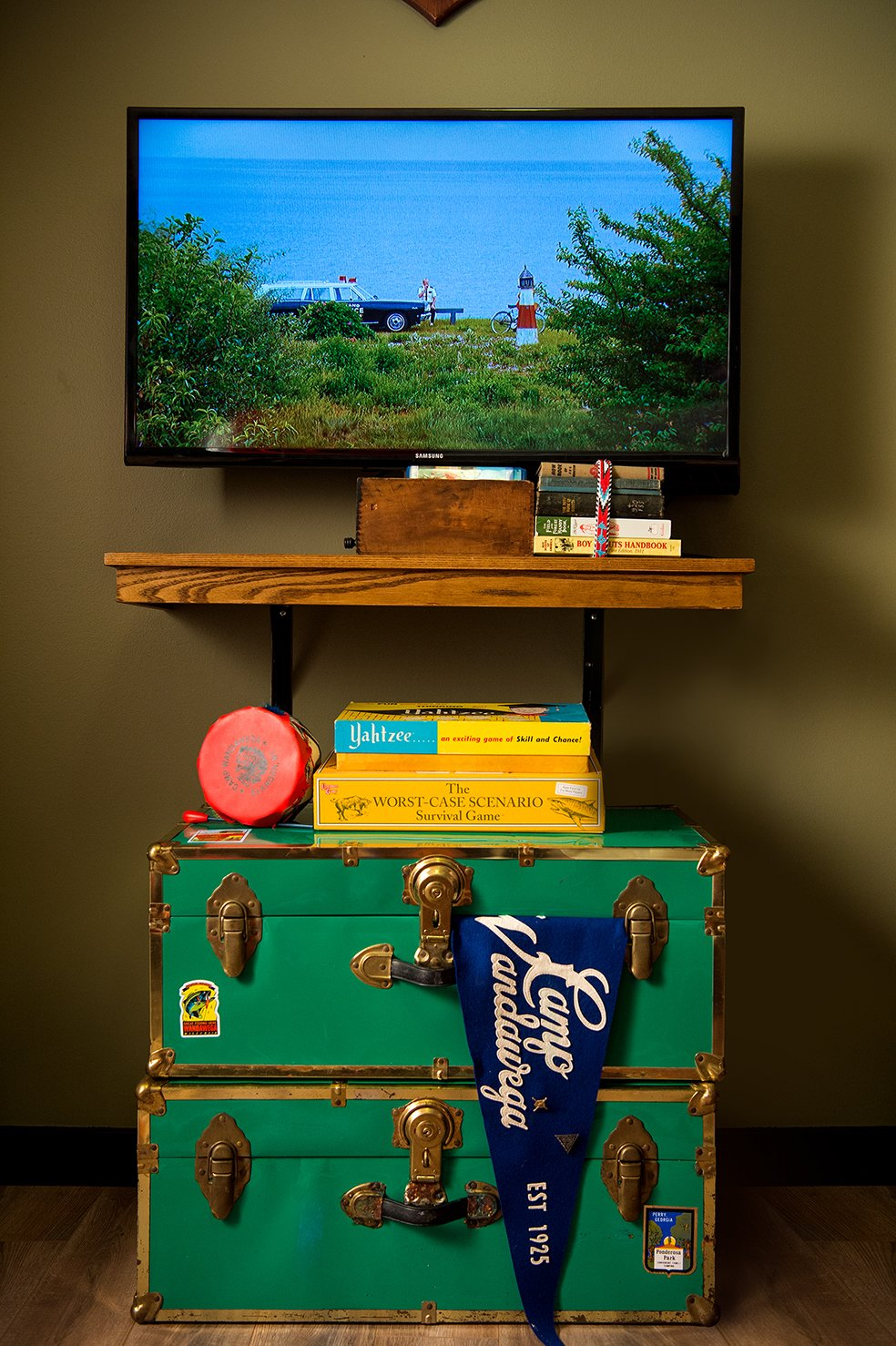 The room comes fully stocked with a collection of camp-themed movies. Tagged: Bedroom and Storage.  Photo 10 of 10 in This Wisconsin Hotel Suite Conjures the Best of Summer Camp—Hold the Bug Spray