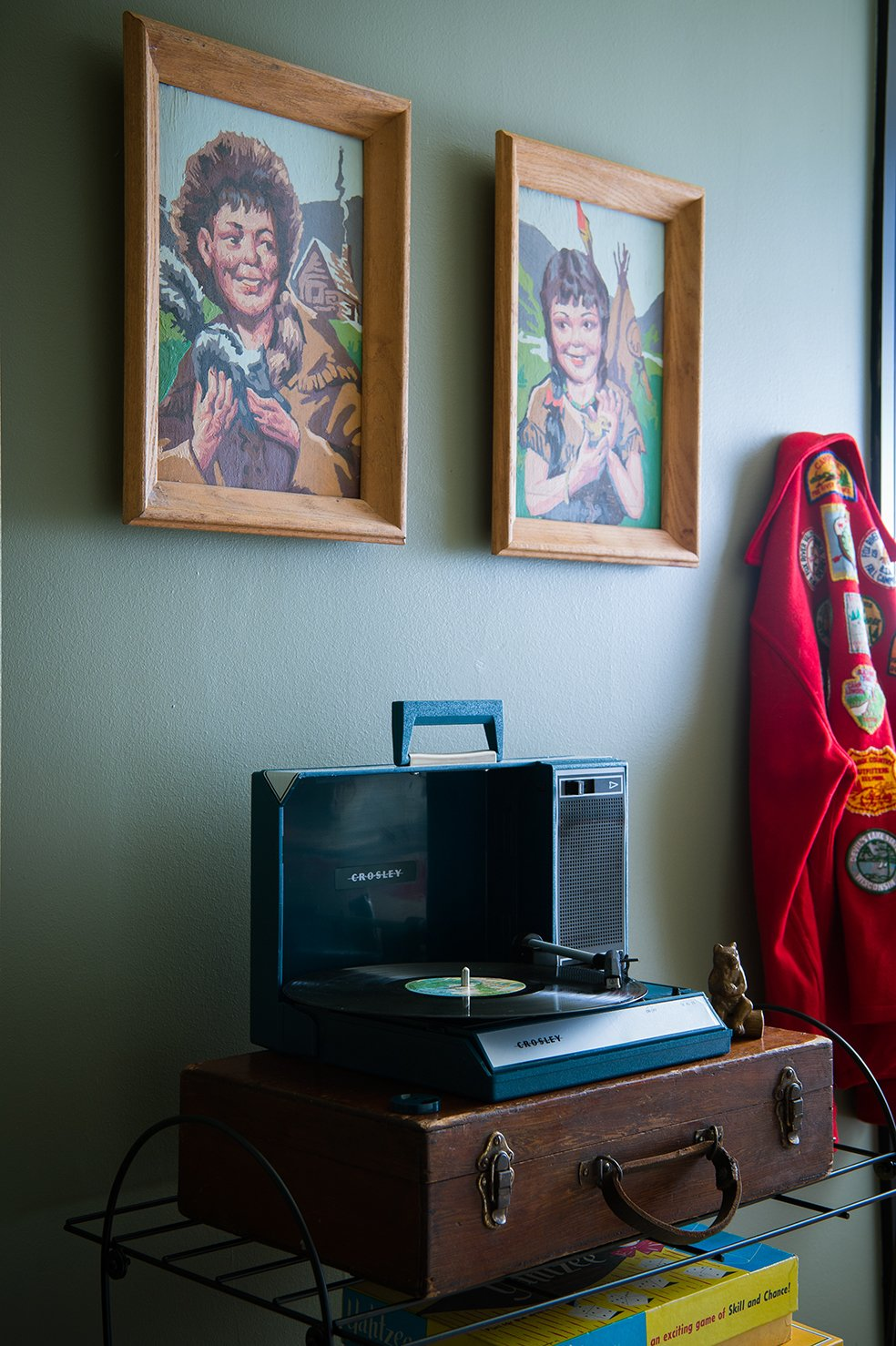 The room comes complete with a selection of retro-Americana music. Tagged: Bedroom and Shelves.  Sound Style by Stephen Blake from This Wisconsin Hotel Suite Conjures the Best of Summer Camp—Hold the Bug Spray