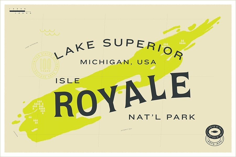 Isle Royale National Park designed by Fuzzco  With Type Hike, 59 Graphic Designers Celebrate the National Park Service Centennial by Heather Corcoran
