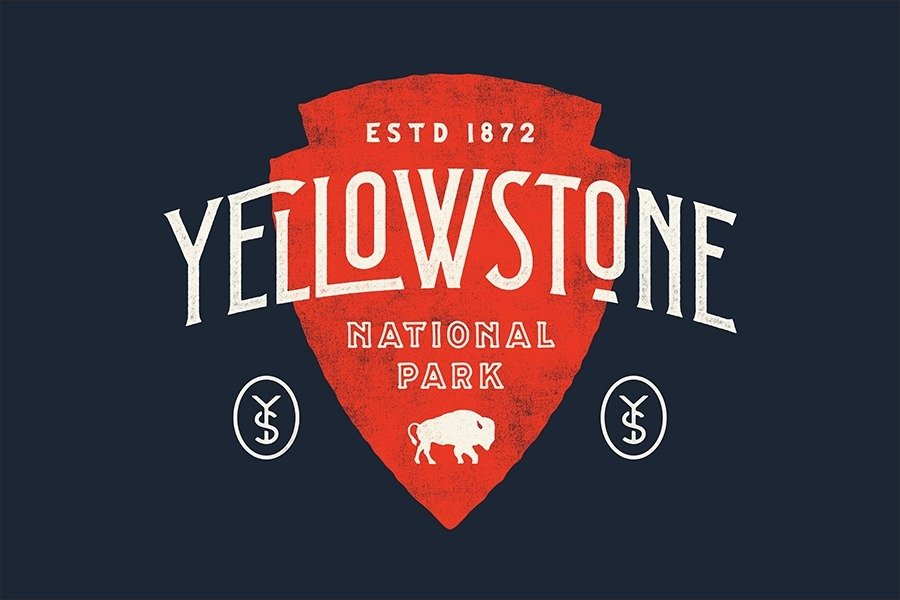 Yellowstone National Park designed by Nicolas Fredrickson With Type Hike, 59 Graphic Designers Celebrate the National Park Service Centennial by Heather Corcoran