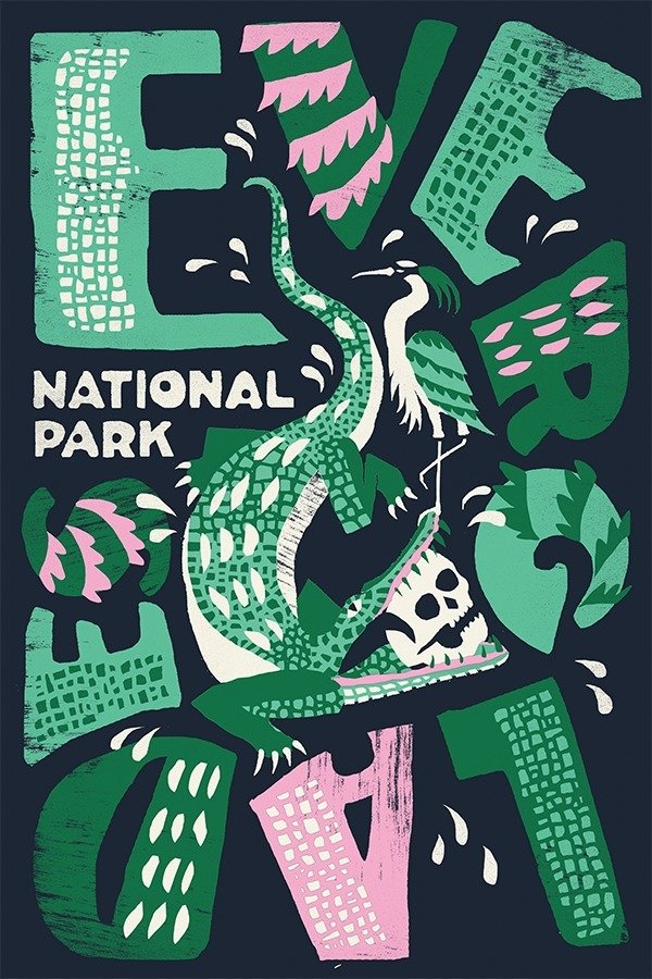 Everglades National Park by Joshua Noom  With Type Hike, 59 Graphic Designers Celebrate the National Park Service Centennial by Heather Corcoran