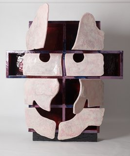 Breaking the Mold: A Conversation With Architect, Artist, and Iconoclast Gaetano Pesce - Photo 6 of 6 - One of Pesce's recent cabinet creations evokes the human face. Human details have always been a recurring theme for Pesce, whether in small art pieces or major architectural works.