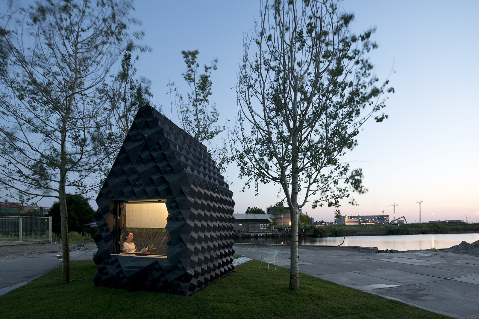 To rent the cabin for a short stay, intrepid guests can contact Dus Architects at info@houseofdus.com  Photo: Ossip van Duivenbode Tagged: Exterior and Cabin Building Type.  Photo 19 of 19 in Stay in This 3D-Printed Tiny House from Book a Stay in This 3D-Printed Tiny House