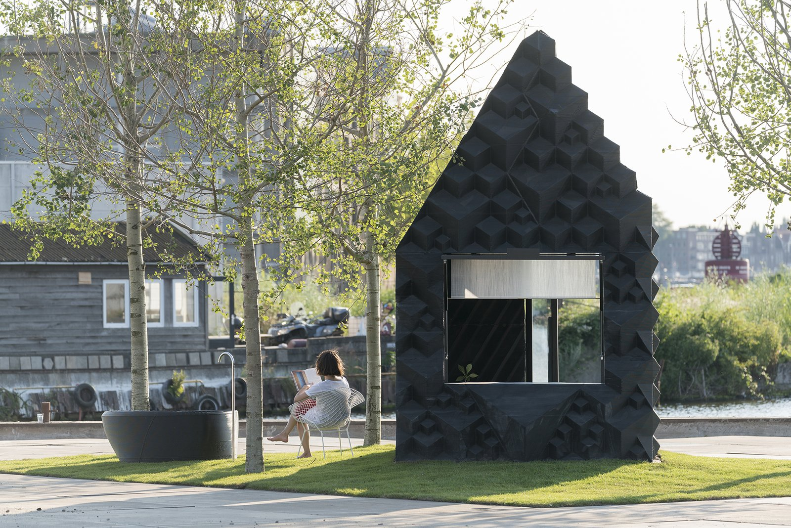 The structure clocks in at just under 90 square feet, and is made entirely of bioplastic.  Photo: Ossip van Duivenbode  Photo 6 of 19 in Stay in This 3D-Printed Tiny House from Book a Stay in This 3D-Printed Tiny House