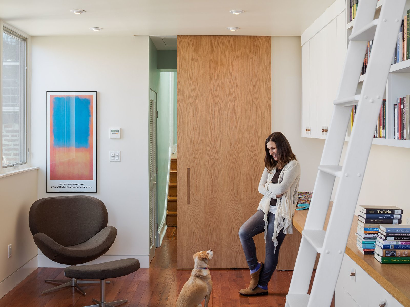 A sunny home office is one of the highlights of the updated Philadelphia row house.