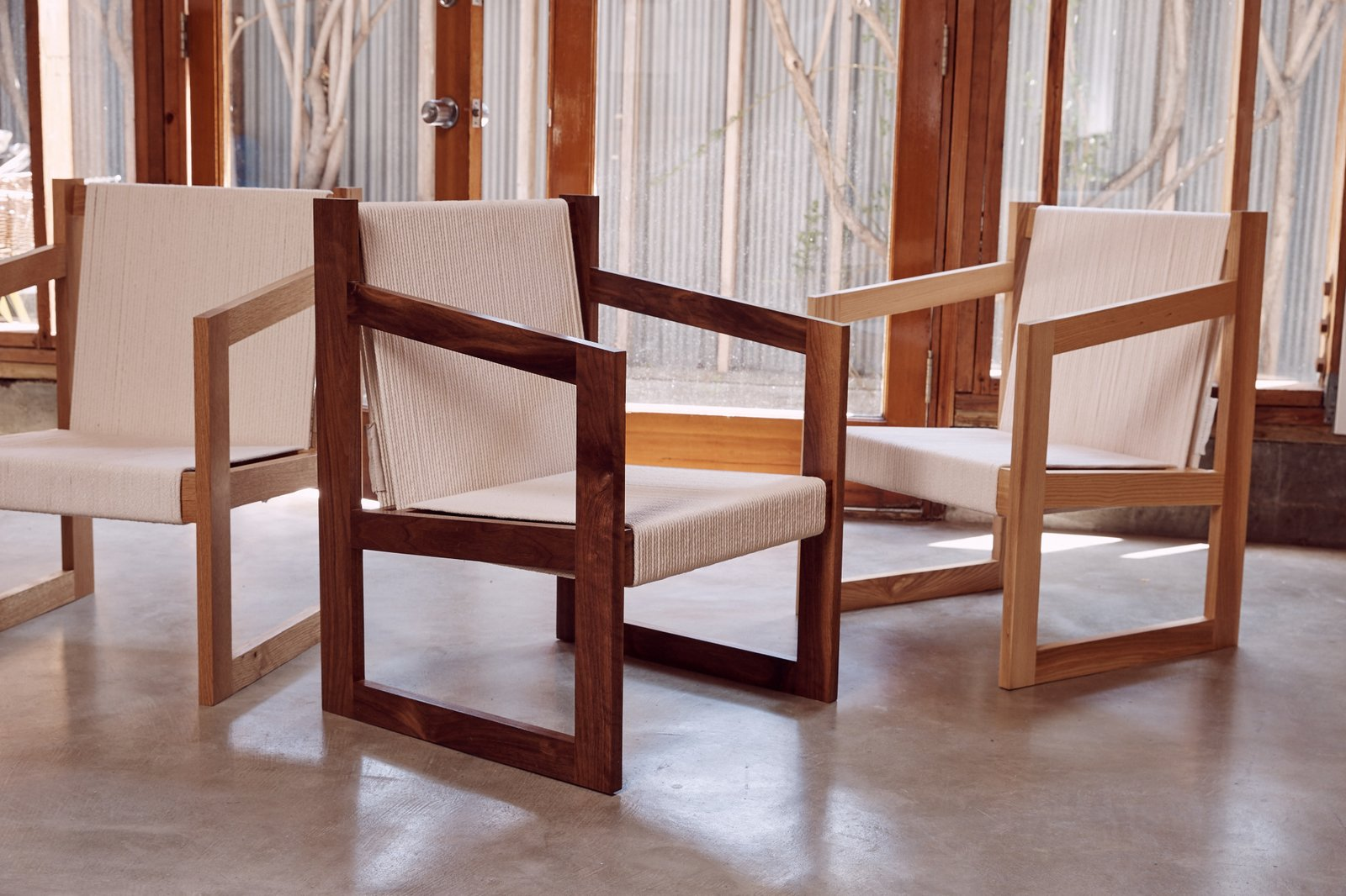 The Chair No. 2 by Dust to Dust is based on designer Kristin Grant Fowler's experience in boatbuilding. The chairs are available in oak, walnut, and ash with mortise-and-tenon joints; 500 feet of rope comprise the seat and back. A dark shou-sugi-ban version, not pictured, is also available.  Photo 9 of 12 in Peek Inside the Frank Gehry Rental of an Emerging L.A. Furniture Designer