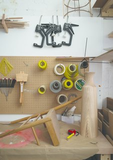 Meet the London Furniture Designers Working in a Reclaimed Railway Shed - Photo 6 of 11 - A few of the tools of the trade at the Pinch studio in South London.