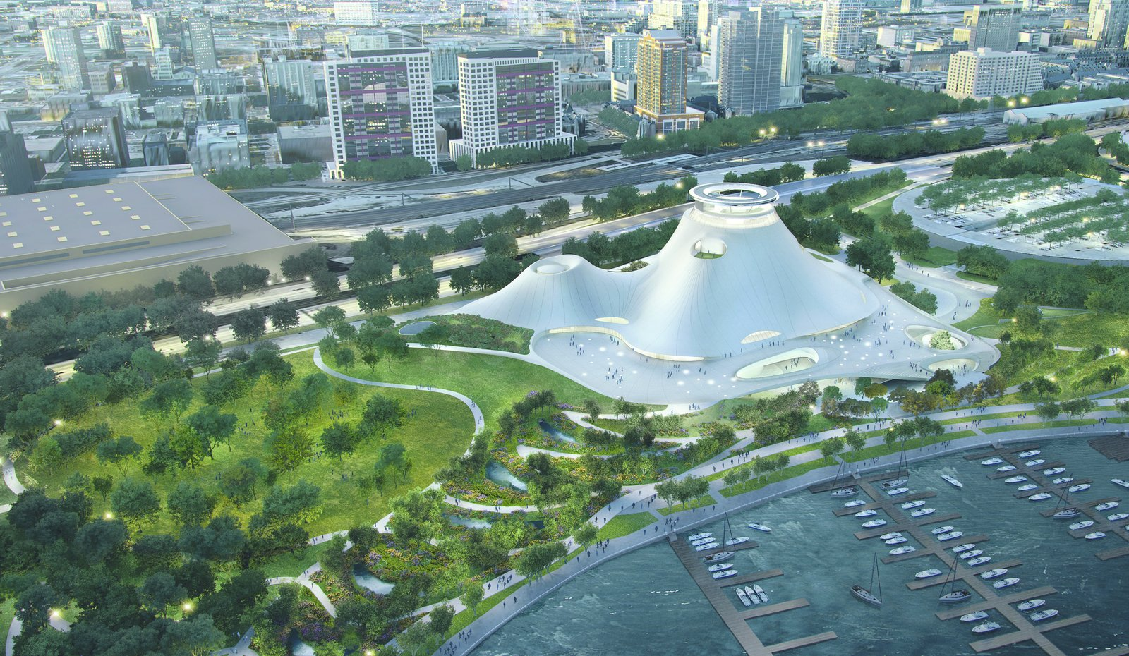Set not far from Chicago's landmark skyscrapers, MAD Architects' Lucas Museum of Narrative Art, scheduled for completion in 2019, makes a statement with its organic horizontality. The museum experience begins with the surrounding park, which flows into a hardscape plaza from which the structure seems to emerge. At its top, an observation platform will offer 360-degree views of the city.  Picture courtesy of MAD Architects  Discover the Fantastical Future Vision of a Beijing Architect by Heather Corcoran