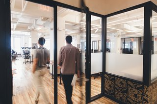 Though each WeWork location is unique, the design team has developed a storefront system for offices and conference rooms that can easily be fabricated to fit any space.