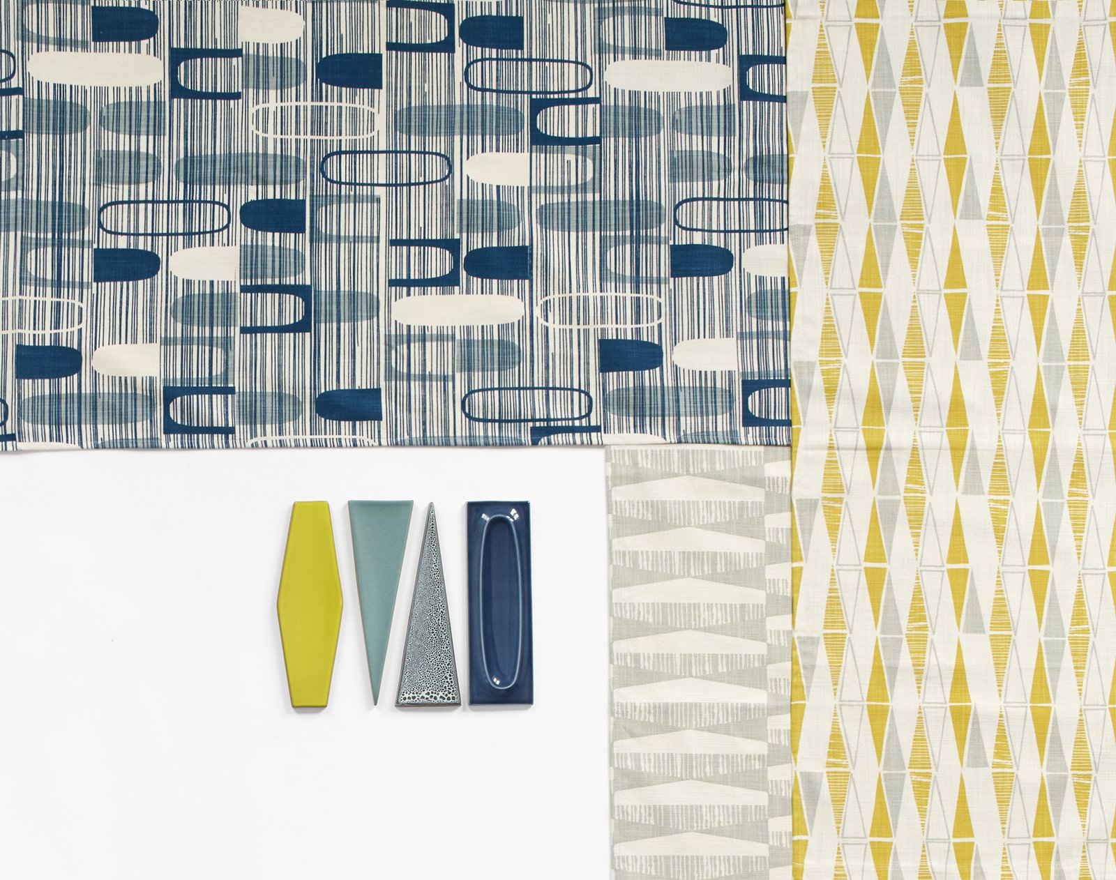 With her new Dimensional textile collection for Heath Ceramics, Skinny laMinx designer Heather Moore riffs on three of the tile brand's iconic shapes—oval, diamond, and triangle—in the brand's new winter hues. heathceramics.com/skinny-laminx