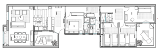 A Barcelona Apartment Gets a Softly Modern Renovation - Photo 8 of 8 - The floor plan of the renovated apartment.