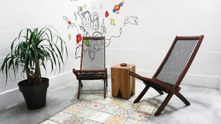A Barcelona Apartment Gets a Softly Modern Renovation - Photo 7 of 8 - The patio features a cement floor inlaid with traditional <i>baldosa hidráulico</i> tiles by Pinar Miró. A friend of the resident painted the mural.