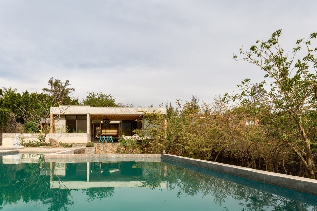 Tagged: Large Pools, Tubs, Shower, Exterior, Concrete Pools, Tubs, Shower, Back Yard, House, Concrete Siding Material, and Flat RoofLine.  Photo 11 of 11 in 10 Modern Vacation Homes in Mexico That Guarantee an Epic Escape from An Eco-Friendly Getaway Built With the Future in Mind