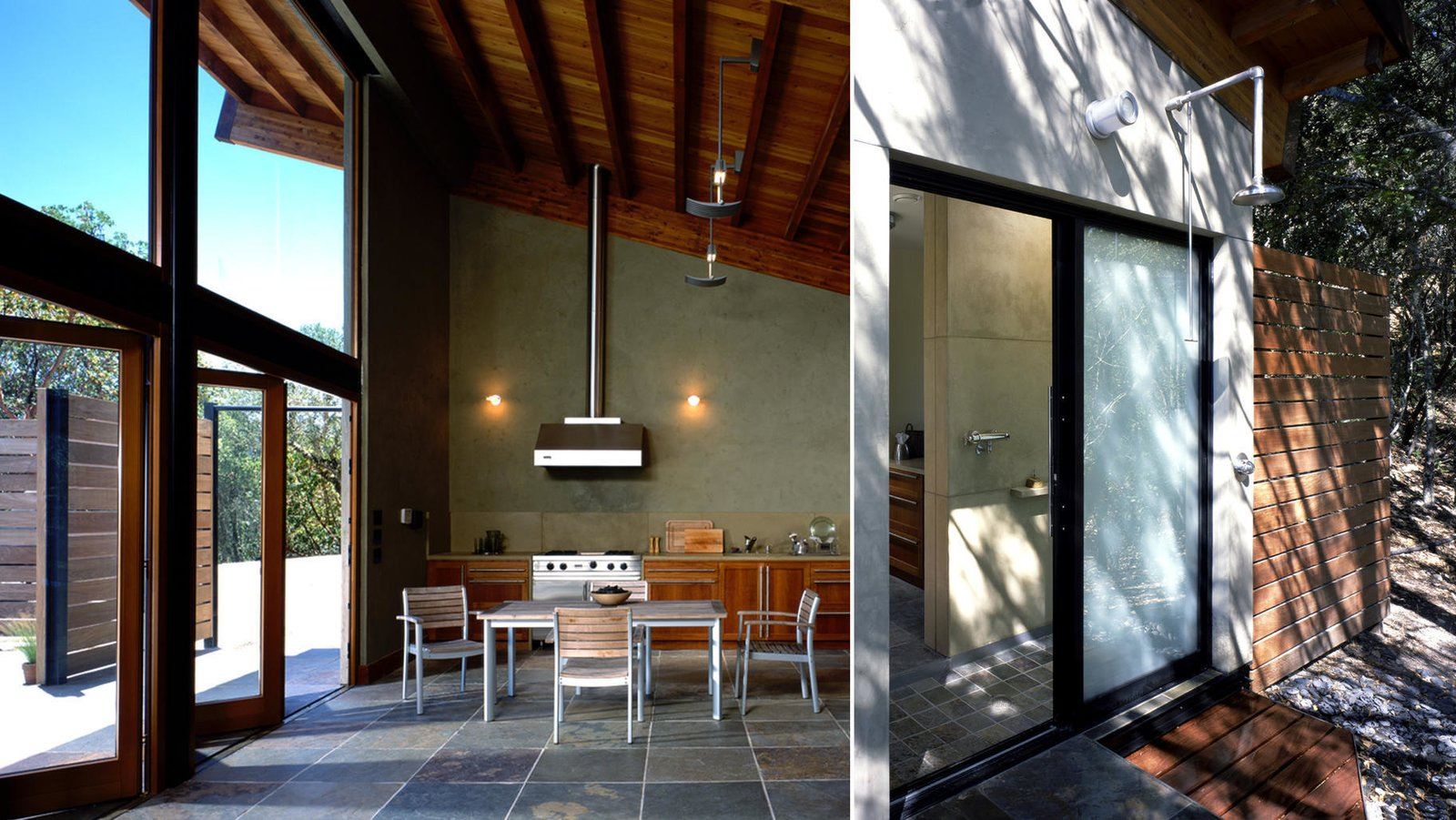 #poolhouse #calistoga #interior #exterior #kitchen #outdoorshower #smallspaces #cantileveredroof #cantilevered #roof