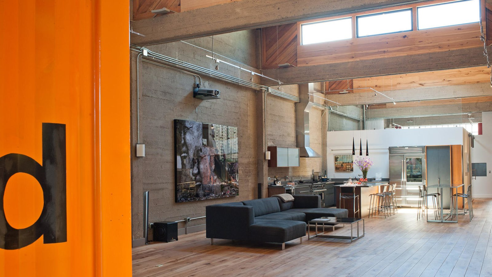 #lundberg #lundbergdesign #sanfrancisco #windows #glass #concrete #warehouse #interior #livingroom #hardwoodfloors #flooring #kitchen   20+ Modern Warehouse and Garages Conversions by Zachary Edelson from Wardell Sagan Residence