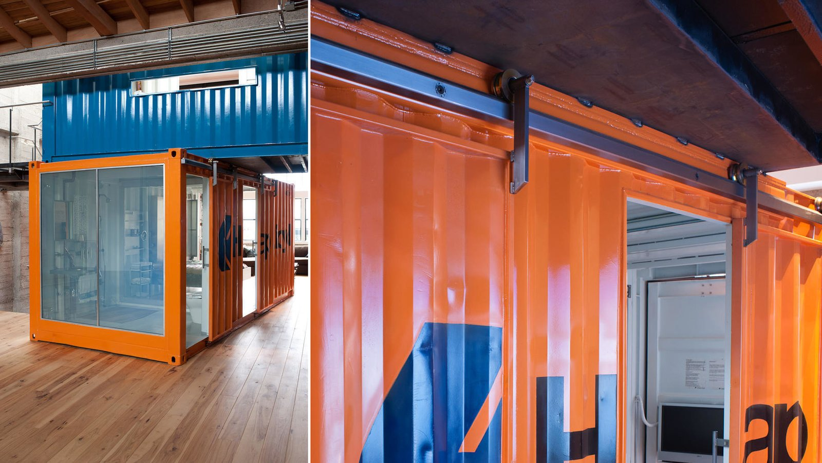 #lundberg #lundbergdesign #sanfrancisco #windows #glass #concrete #warehouse #interior #shippingcontainer #livingroom #shipping #container #hardwoodfloors #flooring  Wardell Sagan Residence by Lundberg Design
