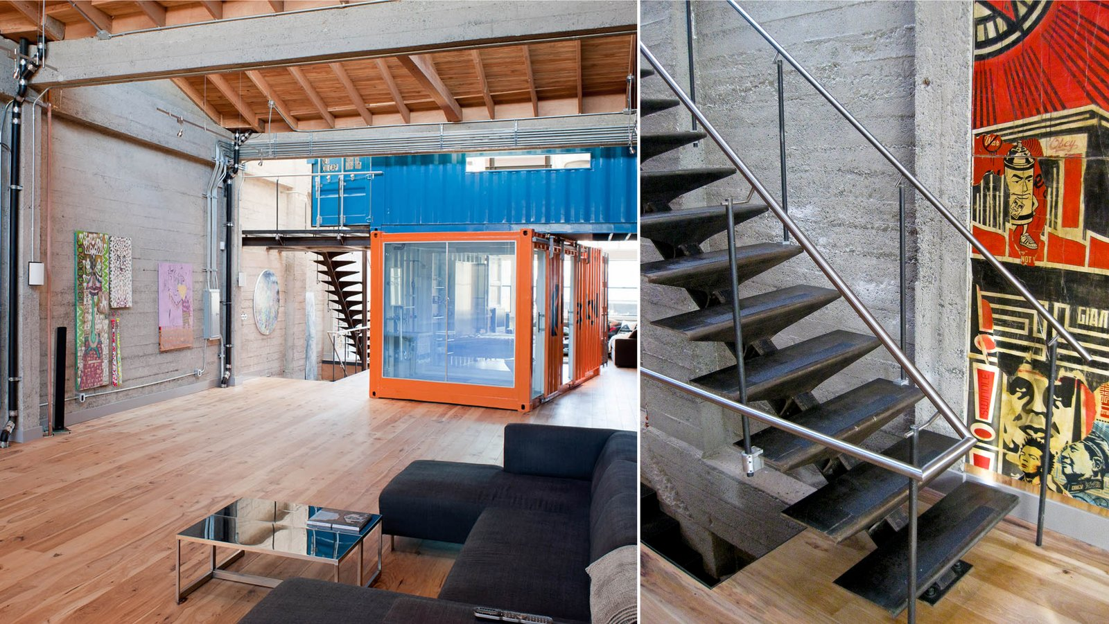 Stacked containers with custom steel stairs provide access to upper container and roof deck  Wardell Sagan Residence by Lundberg Design