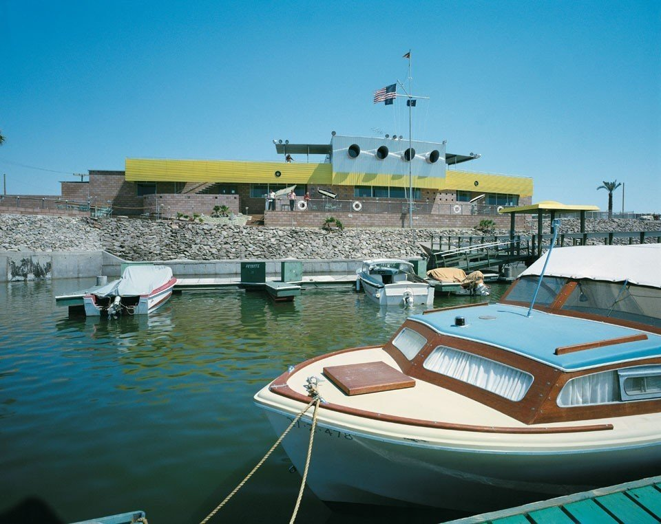 North Shore Yacht Club by Frey & Cahmbers, Salton Sea, California (1960)  Bask in the Retro Glow of Photos from Postwar SoCal (and Beyond) by Luke Hopping