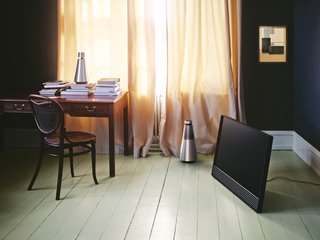Sound and Vision: Elegant New Home Electronics From Denmark - Photo 2 of 3 - With a similar aluminum casework to BeoSound 1, BeoSound 2 is distinguished by a vertical grille. Slightly larger and more powerful than its counterpart, it requires a permanent power connection.