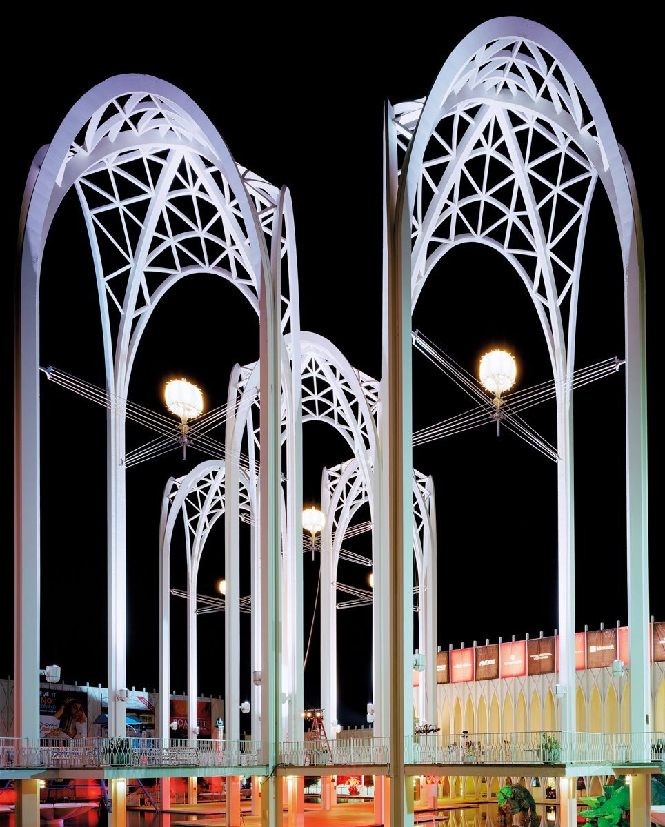 Seattle 1962 World's Fair, Century 21 Exposition, Science Center Arches at Night, 2014. Photo by Jade Doskow  8 Otherworldly Photos of What the Future Was Supposed to Look Like by Luke Hopping