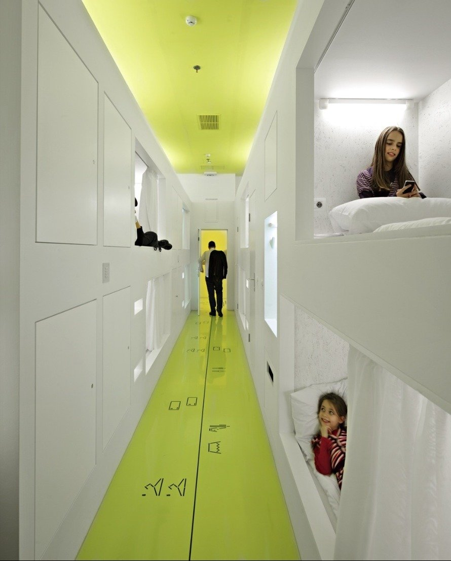 "Hostel Golly±Bossy / Studio Up / Croatia The ""Savo"" building, located in the Split city center core, was a shopping mall but, in 2010 was transformed into a hostel in 100 days.  Way-Finding Systems by Rob Hewitt"
