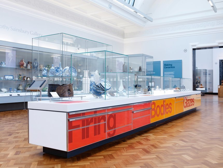 The V&A ceramics  commissioned Cartlidge Levene to work alongside Stanton Williams architects to design the first phase of the 14-gallery permanent display.  Way-Finding Systems by Rob Hewitt