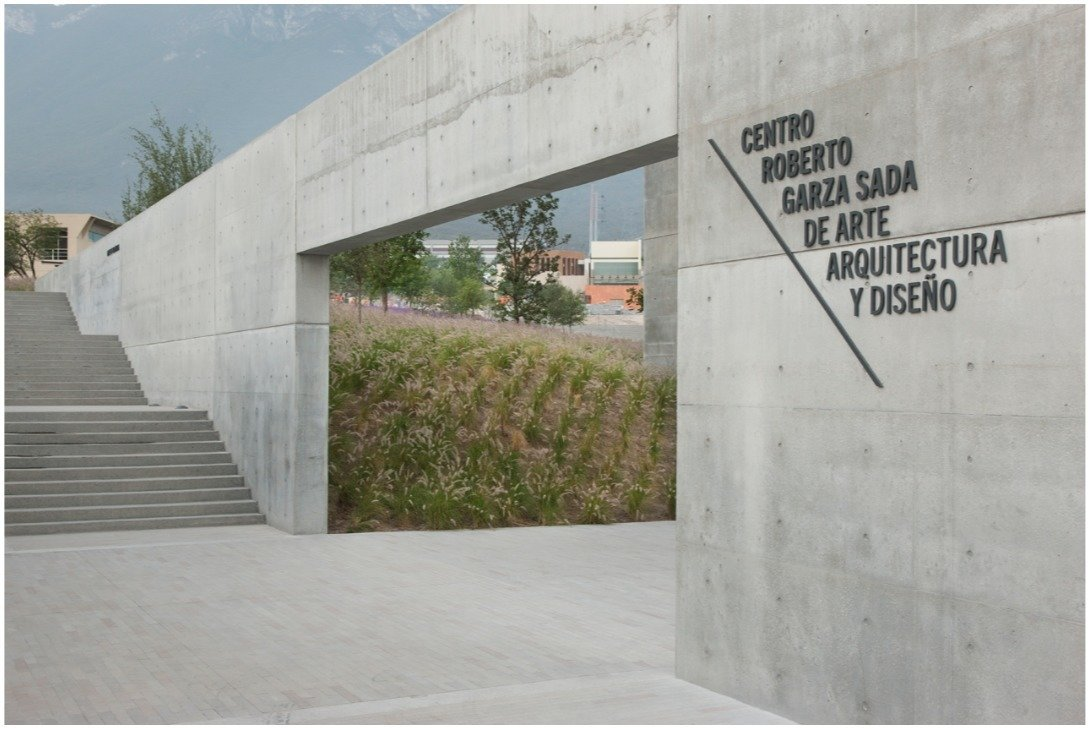 Environmental graphics for Tadao Ando's new arts center at the Universidad de Monterrey, Mexico. Way-Finding Systems by Rob Hewitt