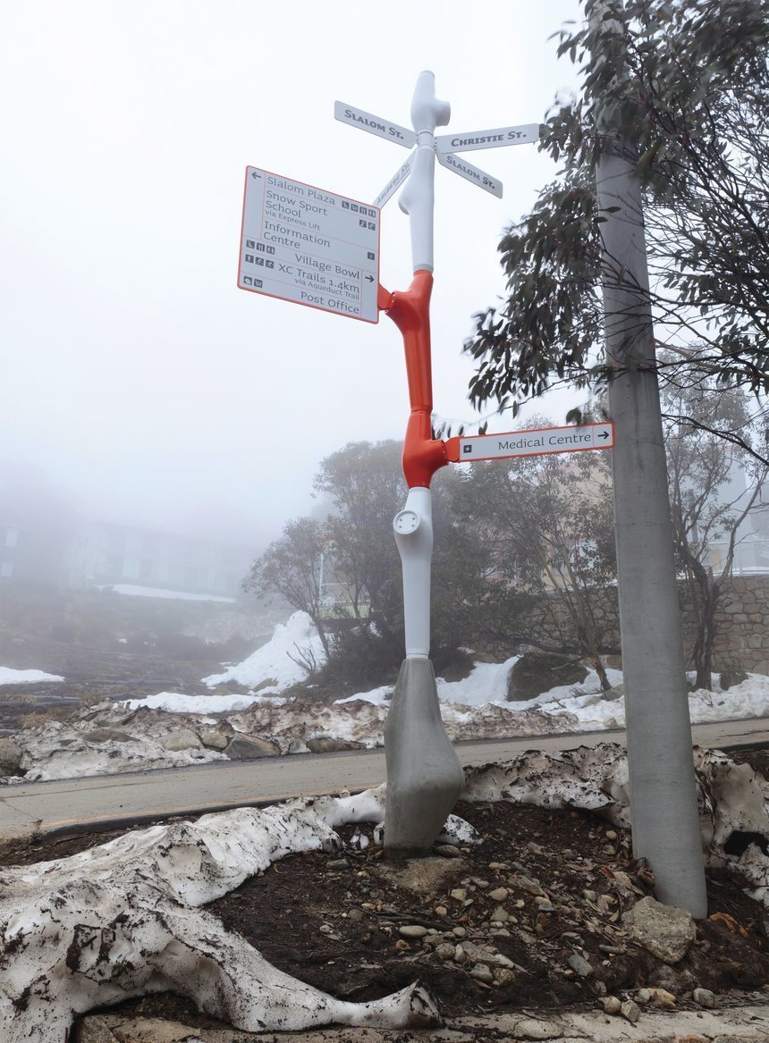 Falls Creek Resort  The design aims to offer the highest possible visibility of information while retaining the smallest presence of supporting structure.   Way-Finding Systems