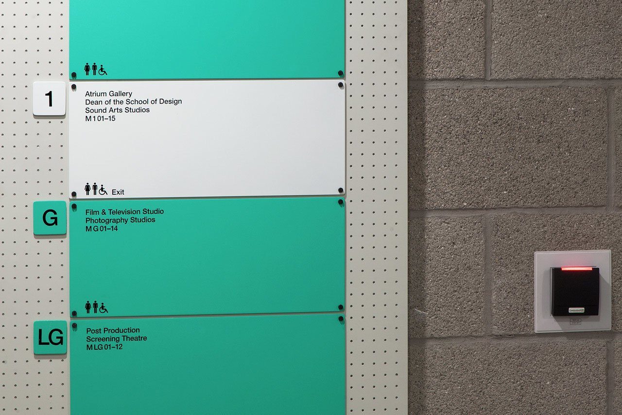 A Color coding system has also been introduced to signify the college's four main areas. Small naming alterations have been introduced to further simplify the system.  Way-Finding Systems by Rob Hewitt