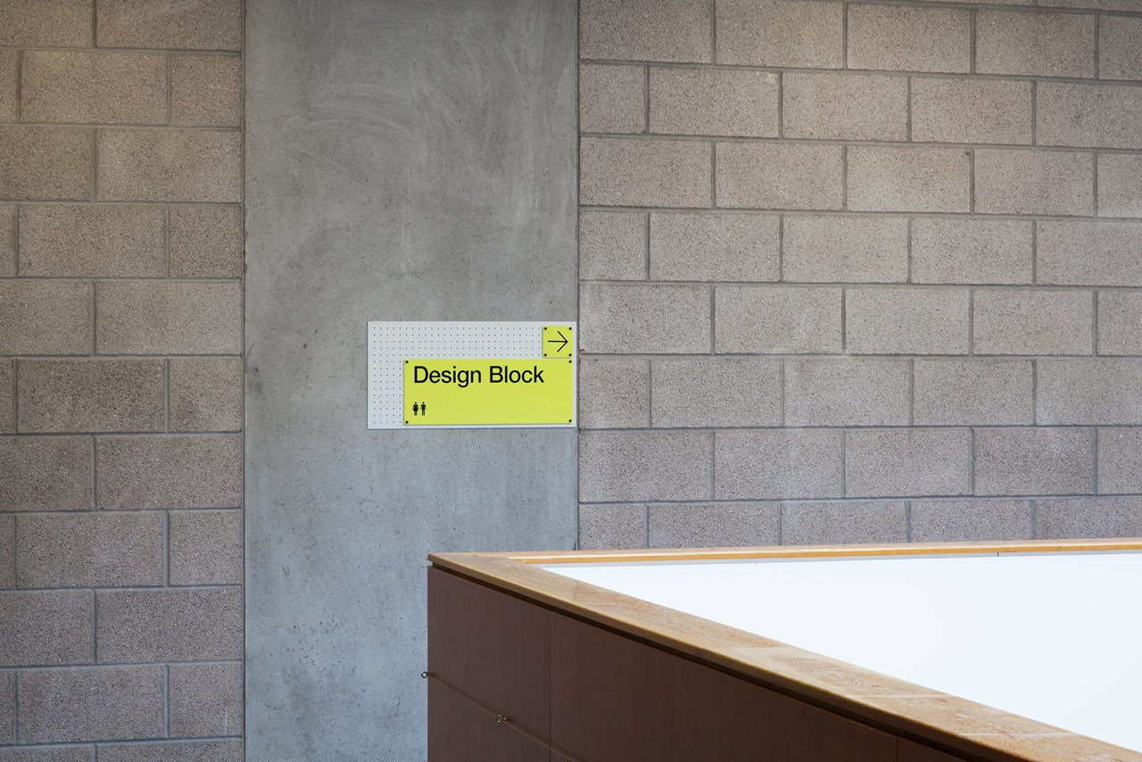 """The material palette is inspired by one LCC's key principles – a dedication to """"making"""" and physical design.  Way-Finding Systems by Rob Hewitt"""